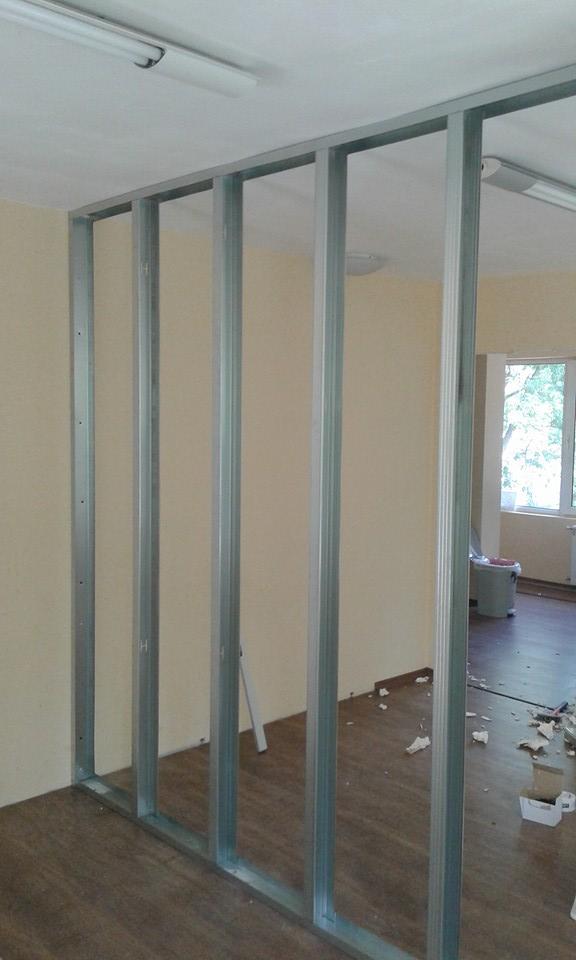 Преградни стени от гипсокартон в детска школа Step by Step кв.Гоце Делчев