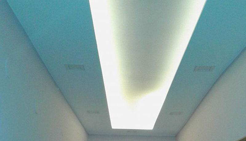 скрито осветление на таван, изработено от гипсокартон